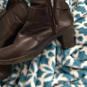 Brown leather heel boots